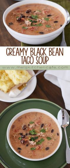 This creamy black bean taco soup is so easy to prepare and keeps really well in the refrigerator for a couple of days.