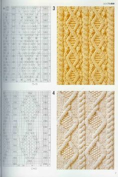 "Photo from album ""Узоры спицами on Yandex. Cable Knitting Patterns, Knitting Charts, Loom Patterns, Easy Knitting, Knitting Stitches, Stitch Patterns, Crochet Patterns, Knit Crochet, Yandex Disk"