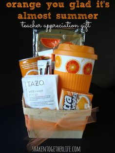 Teacher Appreciation Day printables for food gift ideas: Orange You Glad It's Almost Summer teacher appreciation gift idea at Shaken Together