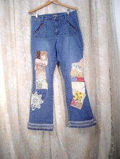 Hippie Patched Jeans Size 15/16 Womens Redesigned by LandofBridget