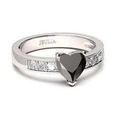 Heart Cut Black Diamond Rhodium Plated Sterling Silver Women's Promise Ring
