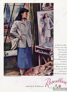 """Rosenblum (Couture) 1947 """"Advertising Manager"""" painted by Ben Stahl, suit"""