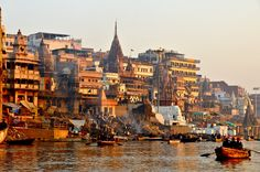 """Ganga Ghats in Holy City of Kashi, Uttar Pradesh, India"" Cityscape Photography, Landscape Photography, Temple India, Morning Photography, India Facts, India Culture, Black Aesthetic Wallpaper, Indian Art Paintings, Varanasi"