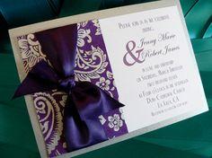 Purple and Silver wedding invitation---I love the pretty bow.
