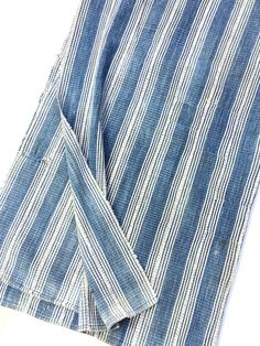 "Mud Cloth African Fabric, 5' 8"" x 3' 3"" Vintage Baule Ikat Strip Cloth, Indigo Blue and soft white, Boho Home by MorrisseyFabric on Etsy"