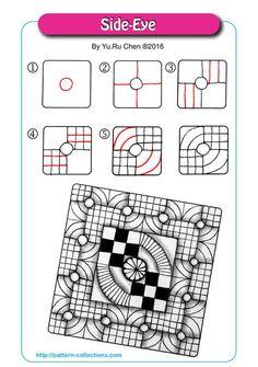 Side-Eye tangle pattern  by Yu Ru Chen PatternCollections.com