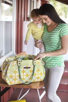 Wistful Weekender in Citron Blooms Organic Cotton #diaperbag #ppb #petuniapicklebottom