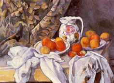 Paul Cézanne (1839-1906) - Still Life with Curtain and Flowered Pitcher, c. 1899 - Oil on canvas - Hermitage Museum, St Petersburg