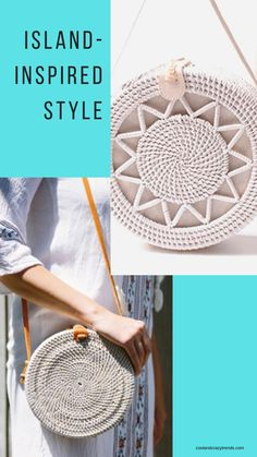Infuse your Look with a Hint of Island-Inspired Style! No Matter Where You Are. #hand-woven bag #white bag #round rattan bag #rattanbags #bohobag #bohemian #vintagebags