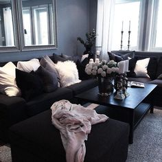 40+ Black Sofa Decor Ideas | Decor, Living Room Decor, Black Sofa