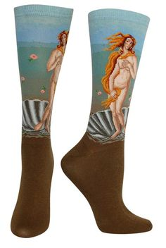 "Sandro Botticelli's ""The Birth of Venus"" (1486) intricately sewn into a trouser length sock. Fit: these socks are longer than a crew sock, and yet not quite to the knee - socks this length are most commonly called Trouser Socks.  Size: One size fits most (Women's shoe size 6-9 & Men's shoe size 7-10)."