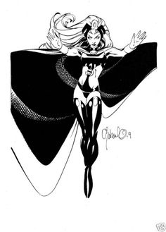 cureelliott: [Image: A black and white image of Marvel Comics character Storm, wearing her black costume. She hovers midair, arms extended outwards. She looks fierce and awesome, her eyes completely white.] By Chris Bachalo Comic Book Girl, Comic Book Artists, Comic Book Characters, Comic Artist, Comic Books Art, Chris Bachalo, Marvel Comics, Storm Marvel, Jordi Bernet