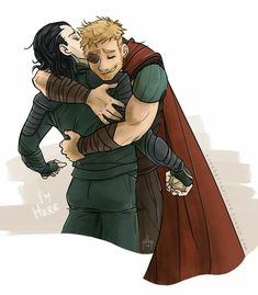 WE ALL NEED THIS THOR AND LOKI HUGGING AT THE END OF RAGNAROK WHICH THEH SHOULD HAVE FANART!!!!