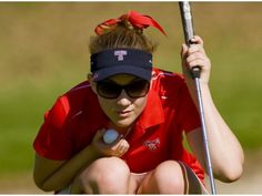 Jeanelle Schweitzer of Tesoro takes in the scene before putting her ball down on the 16th green during the final round of the South Coast League Girls golf finals Tuesday.   Orange County Register 10/16/12