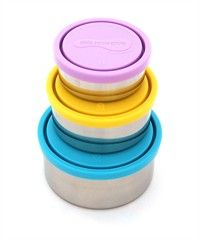Kid Konserve's set-of-three leak-proof, nesting stainless steel food containers is a non-toxic and non-leaching alternative to plastic. The reusable BPA-free food storage containers are perfect for packing fruit, pasta salad, chips & hummus, apples & peanut butter, bagels and more! Also use them to store leftovers in the refrigerator. And since they all nest inside one another they take up very little storage space.