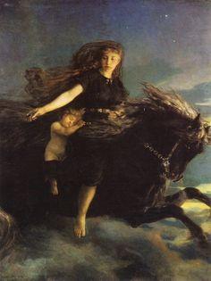 """indigodreams: """" art-is-art-is-art: Nótt Riding Hrímfax, Peter Nicolai Arbo """""""