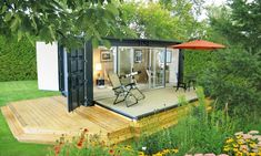 Shipping Container Cabin.. Pullout couch for starry nights and all those windows. Kinda crazy but I like it.