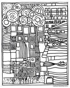 Friedensreich Hundertwasser, Painting & Drawing, Line Art Lesson, Art Portfolio, Colouring Pages, Coloring Book, Art Plastique, Teaching Art, Art School