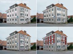 Farbentwürfe für eine Dämmfassade, die zusätzlich mit Zierelementen gestaltet wird.