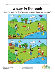 spot the difference park worksheet English Activities, Learning Activities, Kids Learning, Activities For Kids, Spot The Difference Printable, Spot The Difference Kids, Kids English, English Lessons, Find The Difference Pictures