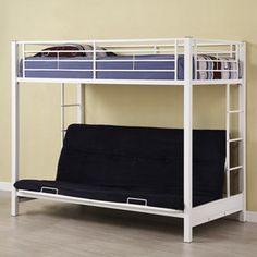 Twin Over Futon Premium Metal Bunk Bed, White