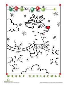 Christmas First Grade Dot-to-Dots Worksheets: Rudolph Dot-to-Dot Christmas Crossword, Christmas Worksheets, Christmas Math, Christmas Activities, Christmas Crafts For Kids, Christmas Printables, Christmas Colors, Holiday Crafts, Christmas Holidays