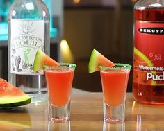 Watermelon Shooters - For more delicious recipes and drinks, visit us here: www.tipsybartender.com