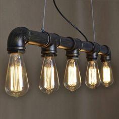 Industrial Iron Pipe Pendant Lamp Straight Row