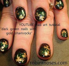 """Nail-art by Robin Moses: """"st. patrick nail art"""" """"st. patrick nails"""" """"shamrock nail art"""" """"shamrock nail design"""" """"shamrock nail"""" """"pot o gold design"""" """"naked man nail art"""" """"clover glam inaz pigment"""""""