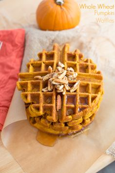 Whole Wheat Pumpkin Waffles | chocolateandcarrots.com #recipe #breakfast #fall