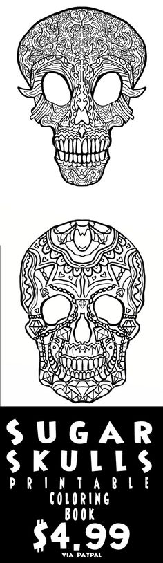 Print your own Complciated Coloring Sugar Skull Coloring pages - skull halloween decorations