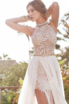 2014 Vintage Lace Chiffon Beach Prom Dresses Halter Beaded Crystals Applique Floor Length Side Slit Evening Gowns BO5557