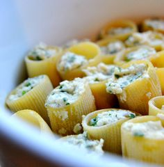 Ricotta and parsley filled paccheri