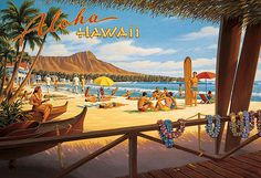 Canvas Aloha Hawaii Travel Poster  (site full of vintage travel posters)