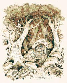 Chaumière dans la forêt - image animée