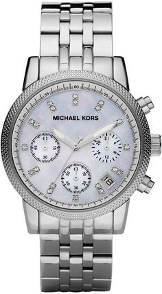 Michael Kors  Mid-Size Silver Color Stainless Steel Ritz Chronograph Glitz Watch