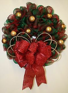 Red and Green Plaid Holiday Wreath made of Deco Mesh