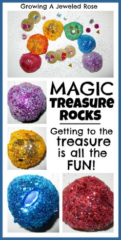 Magic Treasure Rocks- baking soda, food coloring, and add water slowly until baking soda is moldable. Hide treasure inside of it. Let kids spray or drop vinegar on dried ball and watch it fizz and fall apart until treasure is revealed.