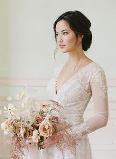 hair beauty - Fine Art Bride Romance inspired by Melissa Sweet wedding dresses from David's Bridal! Photo Laura Gordon Flowers + Design Studio Mondine Styling Emily Newman and Ashley Meaders for Once Wed Hair + Makeup Angela Nunnink Venue Kohl Ma Sweet Wedding Dresses, Perfect Wedding Dress, Wedding Gowns, Lace Wedding, Wedding Bouquet, Bridal Gown, Grecian Wedding, Wedding Hijab, Purple Wedding