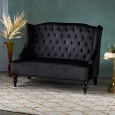 Free 2-day shipping. Buy Noble House Lawrence Modern Glam Tufted Velvet Wingback Loveseat, Black and Dark Brown at Walmart.com Velvet Fashion, Online Furniture Stores, Tufting Buttons, Seat Cushions, Contemporary Design, Living Spaces, Living Room, Love Seat, Home Goods