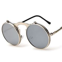 Flat Top Round Sunglasses Steampunk UV400 flip up