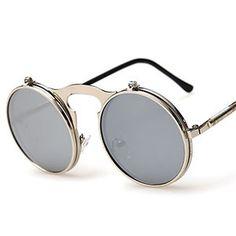 Flat Top Round Sunglasses Steampunk UV400 flip up