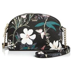 kate spade new york Cameron Street Botanical Hilli Saffiano Leather... (8.955 RUB) ❤ liked on Polyvore featuring bags, handbags, shoulder bags, floral crossbody purse, kate spade, crossbody shoulder bag, floral print purse and crossbody purse