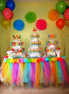 Rainbow Colors ~ Balloons and paper tissue Pom Poms.... So easy to achieve!