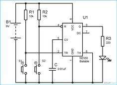 555 Timer Bistable Multivibrator Circuit Diagram