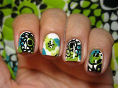 Vera Bradley Lime's Up Fan Nail Art