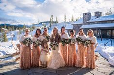 Everyone imagines of a conventional June wedding, but winter weddings can also be amazingly romantic. Classic dresses make for a good pick of a winter wedding dress. Brief dresses adorned with posi… Winter Wedding Bridesmaids, Winter Bridesmaid Dresses, Champagne Bridesmaid Dresses, Wedding Bridesmaid Dresses, Wedding Dress Styles, Winter Weddings, Sequin Bridesmaid, Amazing Wedding Dress, Winter Wonderland Wedding