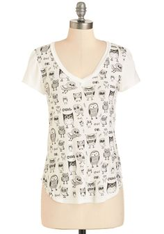 Wise So Serious? Tee. Turn that frown upside down immediately upon slipping into this printed tee! #white #modcloth