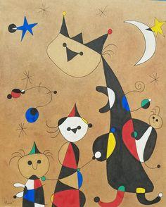 Pintura de Joan Miro que demuestra la enseñanza de las personas sabías hacia las aprendientes Joan Miro Paintings, Famous Artists Paintings, Henri Matisse, Joan Miro Pinturas, Mobiles Art, Max Ernst, Magritte, Elements Of Art, Funny Art