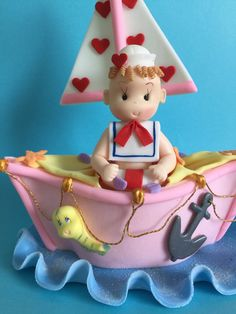 Nautical Baby Girl Cake Topper by MICHELLCUSTOMDESIGNS on Etsy